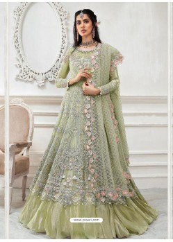 Olive Green Heavy Designer Embroidered Party Wear Gown Style Anarkali Suit