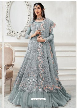 Grey Heavy Designer Embroidered Party Wear Gown Style Anarkali Suit