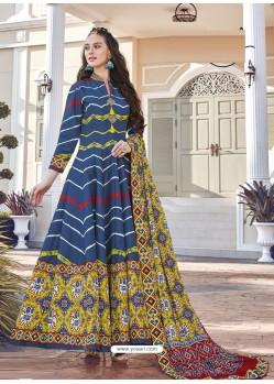 Dark Blue Printed Designer Party Wear Killer Silk Anarkali Suit