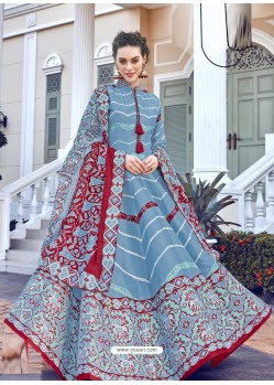 Blue Printed Designer Party Wear Killer Silk Anarkali Suit