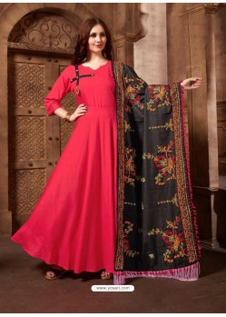 Dark Peach Designer Party Wear Rayon Readymade Kurti Style Anarkali Suit