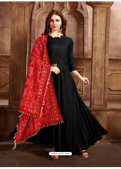 Black Designer Party Wear Rayon Readymade Kurti Style Anarkali Suit