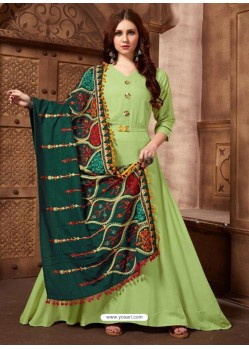 Green Designer Party Wear Rayon Readymade Kurti Style Anarkali Suit