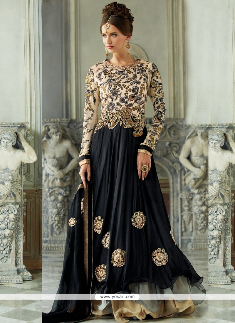 Imperial Black Zari Work Anarkali Suits