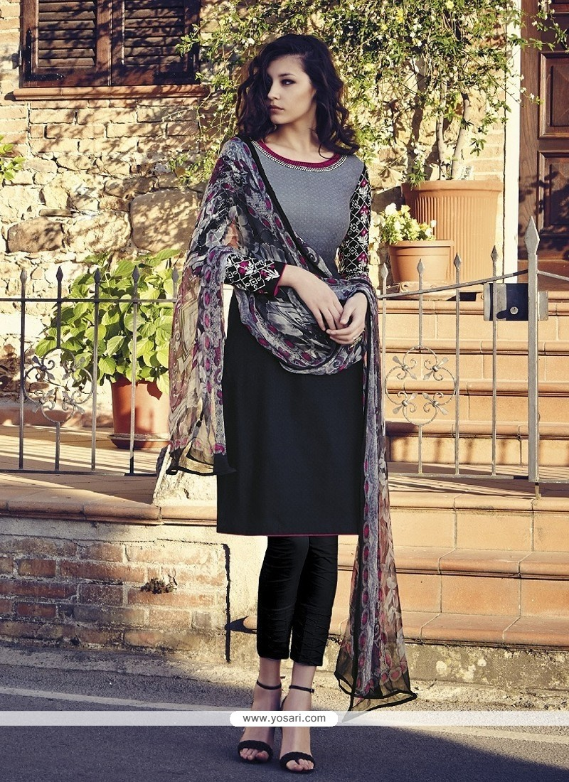 Attractive Embroidered Work Black And Grey Jacquard Salwar Suit