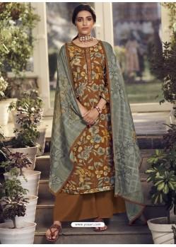Brown Designer Wear Pure Pashmina Palazzo Salwar Suit