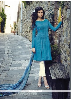 Charming Resham Work Blue Cotton Salwar Suit