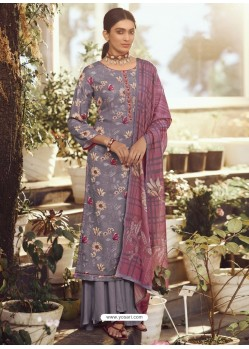 Mauve Designer Wear Pure Pashmina Palazzo Salwar Suit
