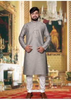 Silver Readymade Designer Party Wear Kurta Pajama For Men