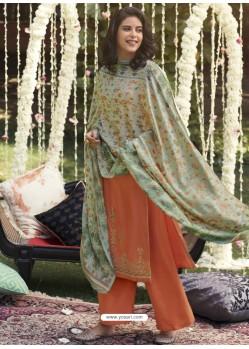 Light Orange Designer Wear Pashmina Palazzo Salwar Suit