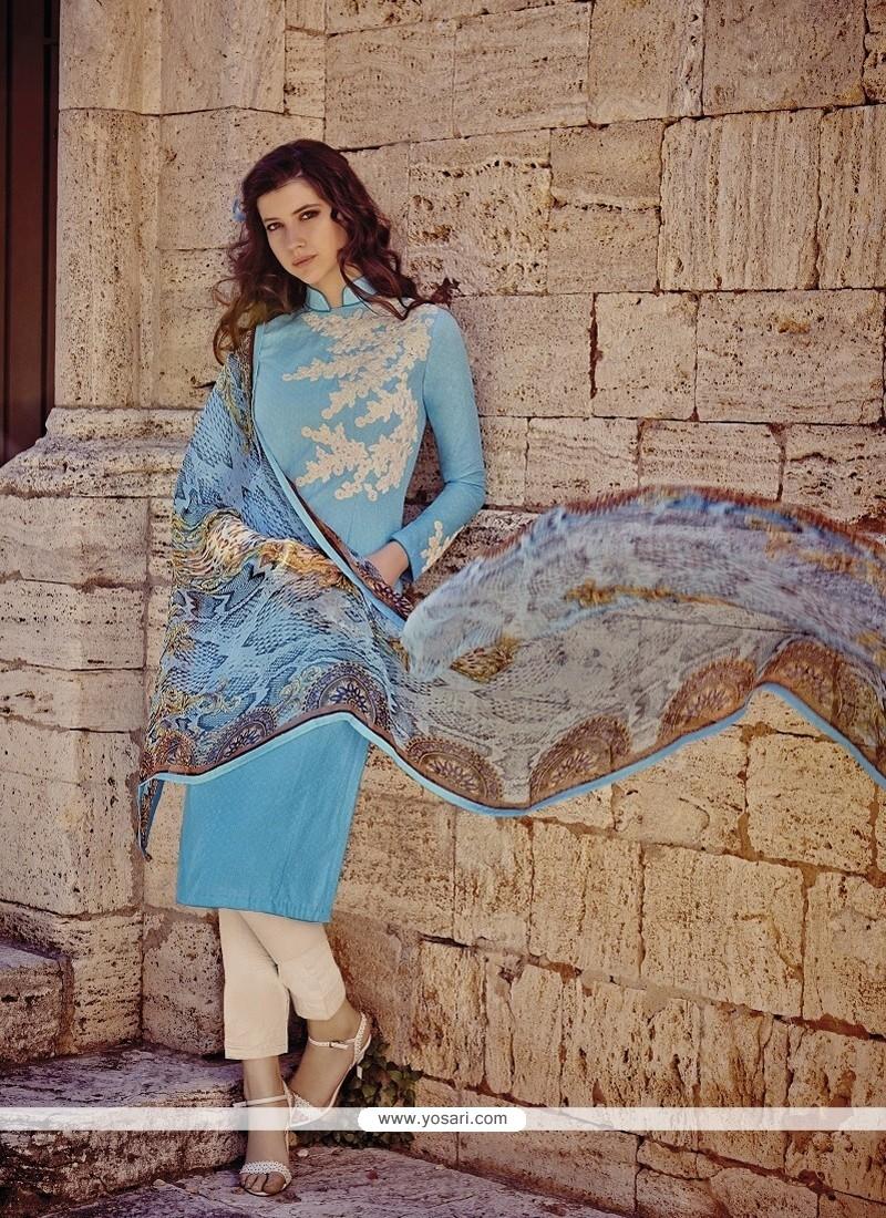 Magnetic Cotton Turquoise Salwar Suit
