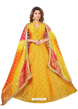 Yellow Stylish Designer Embroidered Wedding Wear Readymade Suit