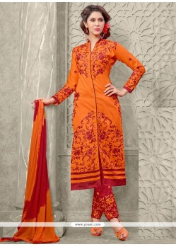 Voguish Orange Embroidered Work Designer Straight Salwar Suit