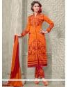 Voguish Orange Embroidered Work Designer Straight Salwar Suit