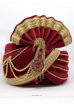 Ethnic Maroon Designer Velvet Wedding Turban