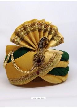 Stylish Cream Designer Velvet Wedding Turban