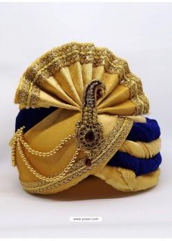 Ethnic Cream Designer Velvet Wedding Turban