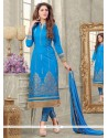 Observable Cotton Blue Zari Work Designer Straight Salwar Kameez