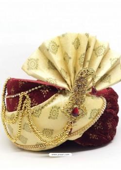 Maroon Designer Wedding Wear Turban