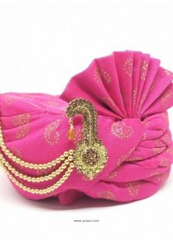 Pink Designer Wedding Wear Turban