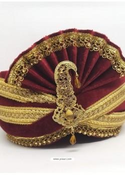 Stunning Maroon Designer Wedding Wear Turban