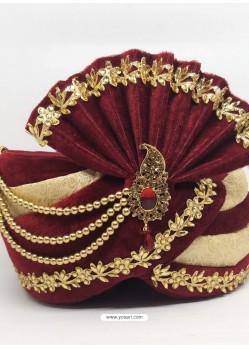 Stylish Maroon Designer Wedding Wear Turban