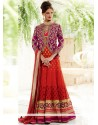 Gorgeous Red Pure Georgette And Silk Koti Anarkali Suits