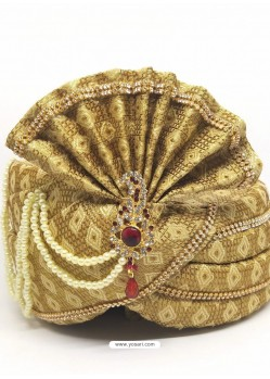 Cream Designer Wedding Wear Turban