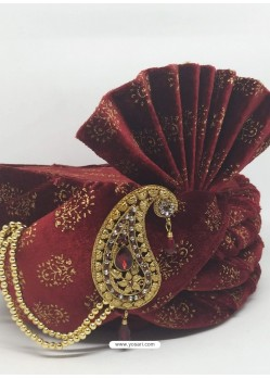 Ethnic Maroon Designer Wedding Wear Turban