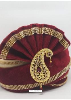 Dashing Maroon Designer Wedding Wear Turban