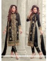 Invigorating Black Resham Work Cotton Designer Straight Salwar Kameez