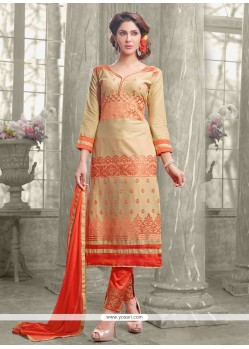 Awesome Resham Work Beige Designer Straight Suit