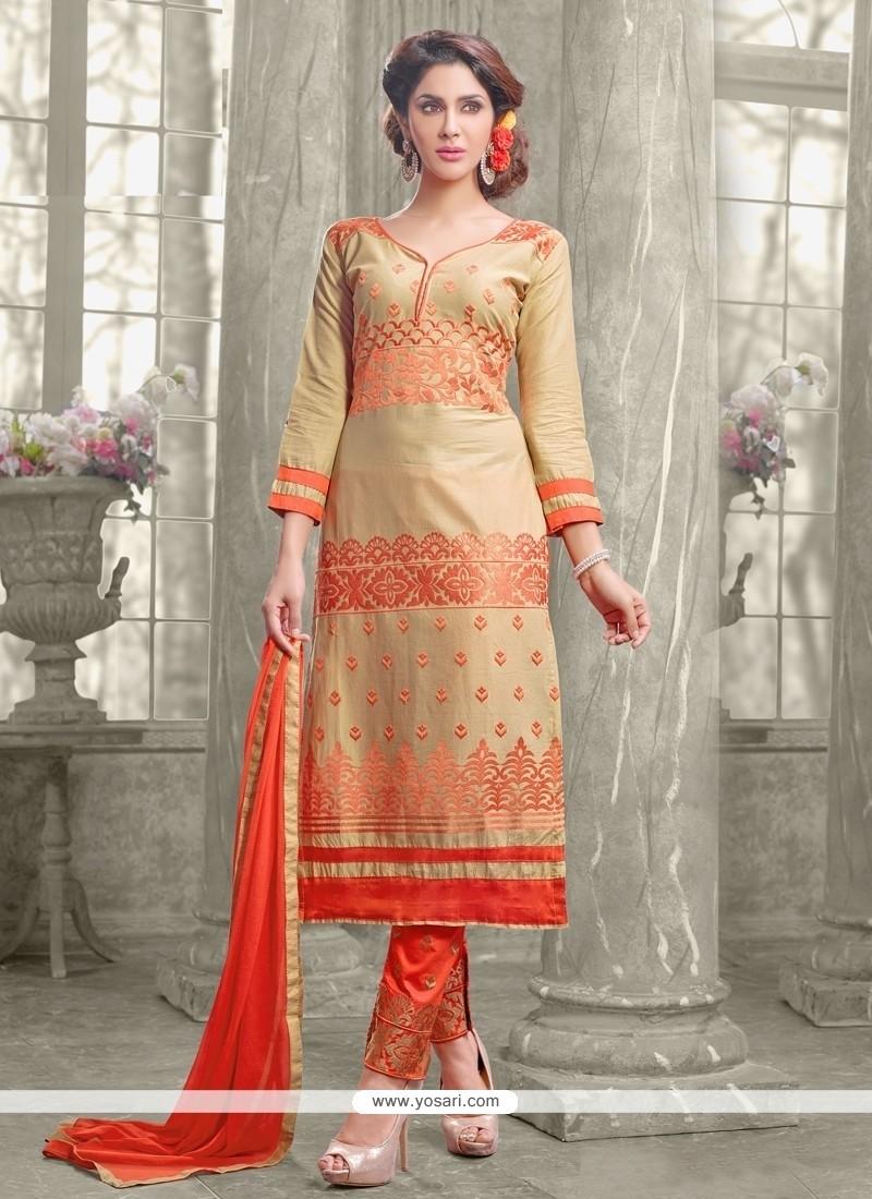 Awesome Resham Work Beige Designer Straight Suit