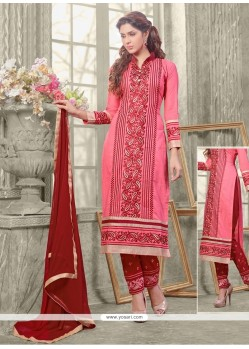 Adorable Embroidered Work Pink Designer Straight Salwar Kameez