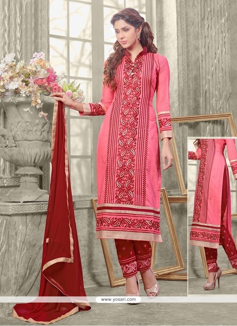 Adorable Embroidered Work Pink Designer Straight Salwar Kameez