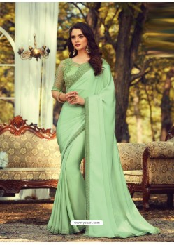 Olive Green Stylish Designer Party Wear Sari