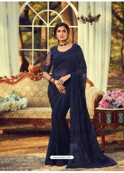 Navy Blue Stylish Designer Party Wear Sari