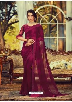Maroon Stylish Designer Party Wear Sari