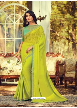 Lemon Stylish Designer Party Wear Sari
