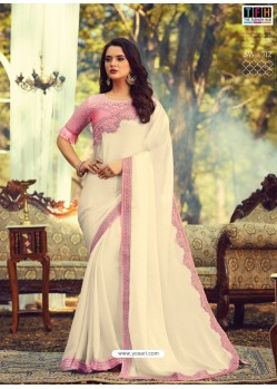 Off White Stylish Designer Party Wear Sari