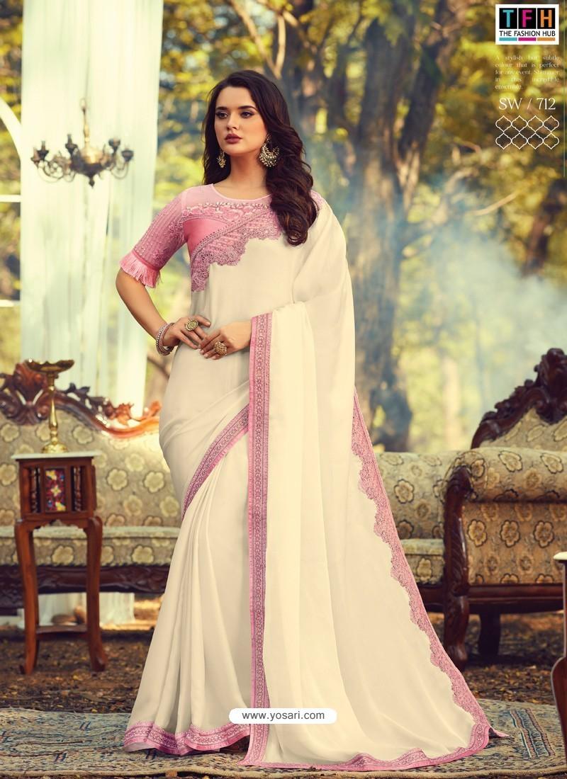 Off White Stylish Designer Party Wear Sari