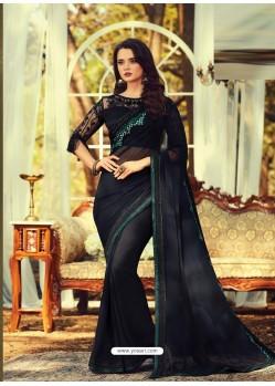 Black Stylish Designer Party Wear Sari