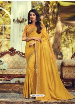 Mustard Stylish Designer Party Wear Sari