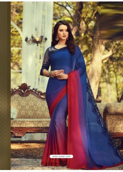 Royal Blue Stylish Designer Party Wear Sari
