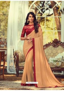 Cream Stylish Designer Party Wear Sari