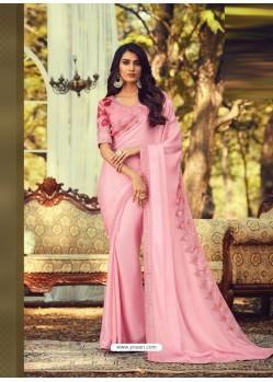 Baby Pink Stylish Designer Party Wear Sari