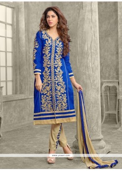 Awesome Zari Work Cotton Designer Straight Salwar Kameez