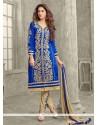 Awesome Zari Work Cotton Designer Straight Salwar Kameez