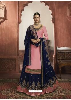 Pink Stylish Designer Embroidered Wedding Wear Suit