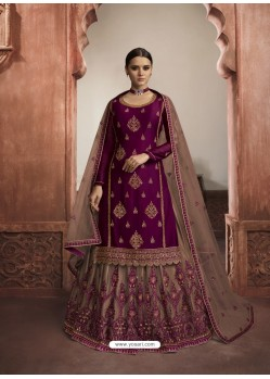 Violet Stylish Designer Embroidered Wedding Wear Suit